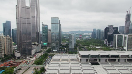 Shenzhen city landscape and skyscrapers