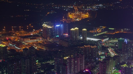 Shenzhen cityscape at night from above