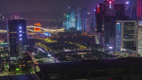 Shenzhen cityscape with projection on buildings