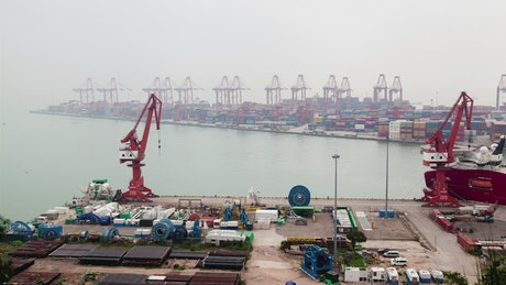 Shenzhen container port on a foggy day