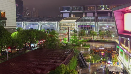 Shenzhen convention center time lapse at night