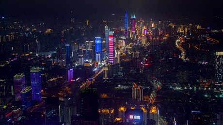 Shenzhen illuminated buildings and traffic