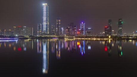 Shenzhen iluminated city buildings at night