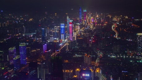Shenzhen iluminated skyscrapers at night