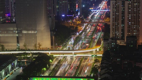 Shenzhen road with fast traffic at night