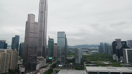 Shenzhen skyscrapers on a cloudy day