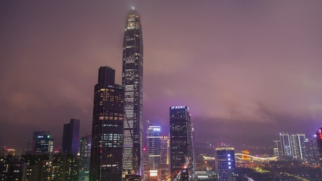 Shenzhen skyscrapers on a cloudy night