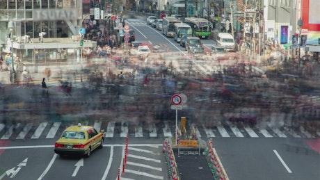 Shibuya district crosswalk time lapse
