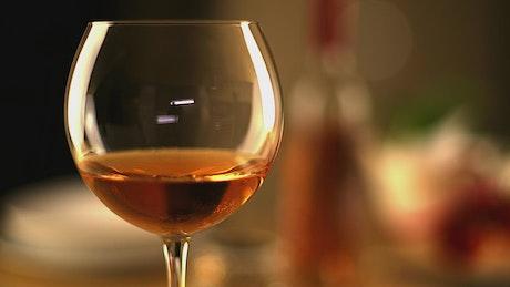 Shiny wine glass close up