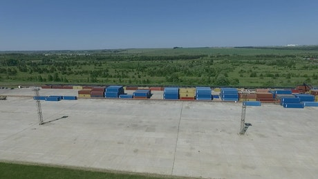Shipping containers in storage