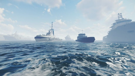 Ships sailing in the sea, 3D animation