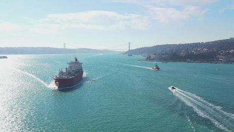 Ships sailing towards the camera