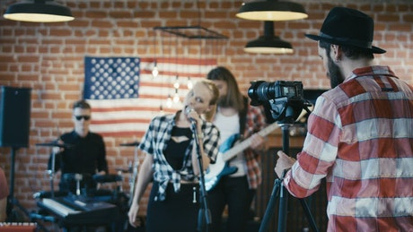Shooting a music band video