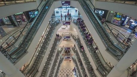 Shoppers walking through a mall