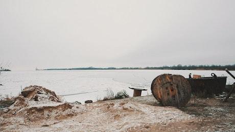 Shore of a frozen lake