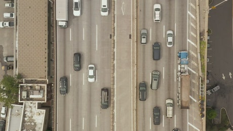 Shot from the top of a highway full of cars