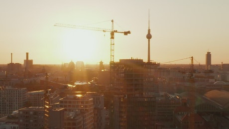 Shot of Berlin with the sun dazzling the camera