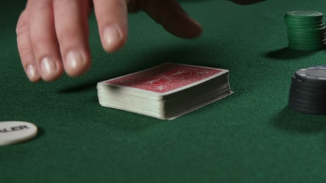 Shuffling cards at a Poker game
