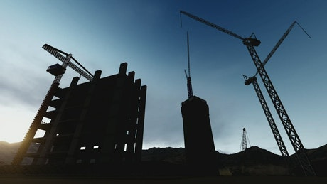 Silhouette of a building under construction