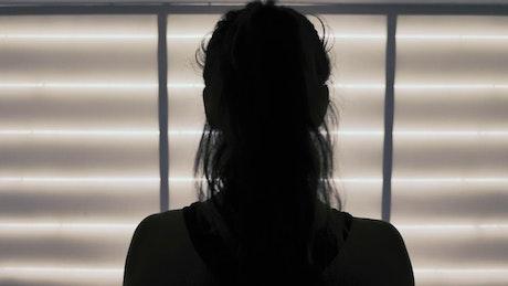 Silhouette of a contemporary dancer in studio