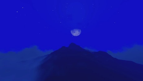 Silhouette of a mountain on a blue night