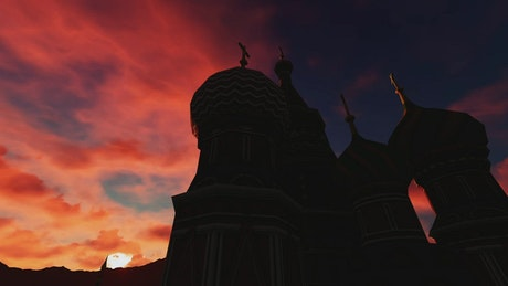 Silhouette of a temple or church at sunset