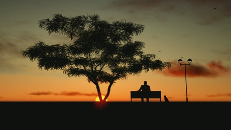 Silhouette of an old man relaxing at sunset