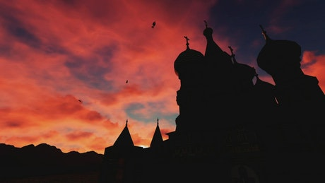 Silhouette of Kremlin church at sunset