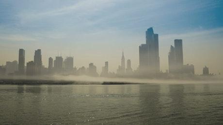 Silhouette of New York hidden by fog