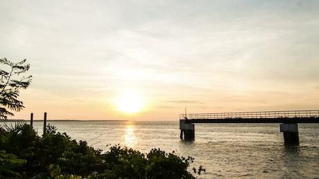 Silhouette of the coast at sundown