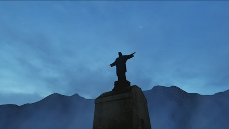 Silhouette of the Jesus statue