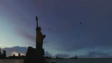 Silhouette of the statue of Liberty, 3D