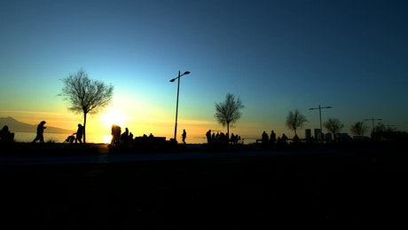 Silhouettes of pedestrians at sunset by the sea
