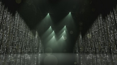 Silver award stage curtains, loop video