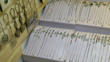 Silver jewelry merchandise on display
