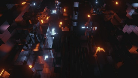 Simulator of a cyberpunk world of cubes in the form of buildings