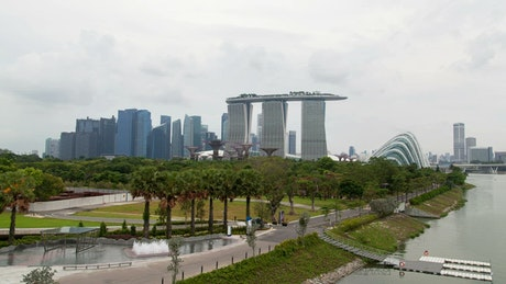 Singapore bay area with skyscrapers