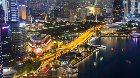 Singapore cityscape at night, time-lapse