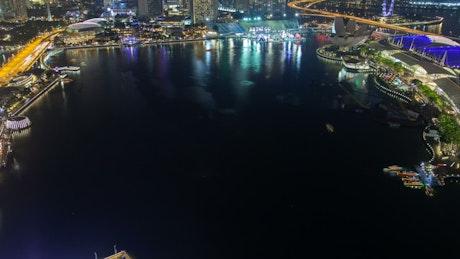 Singapore harbor traffic at night