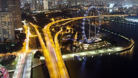 Singapore highway roads illuminated at night