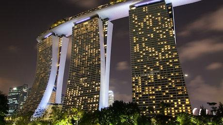 Singapore Marina Bay time lapse at night