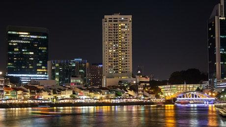 Singapore river time lapse at night