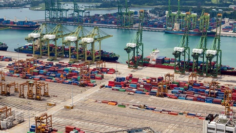 Singapore trading port and cranes time lapse