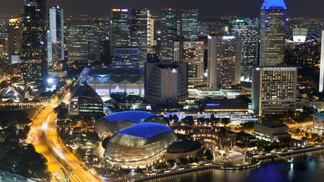 Singapore's modern buildings at night