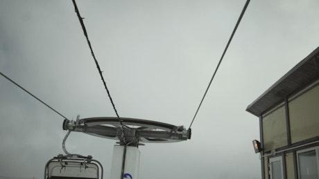Ski lifts moving at a resort