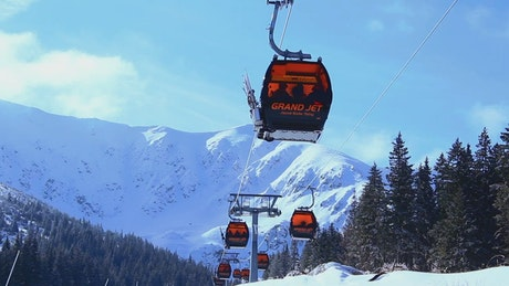 Ski lifts on a clear day