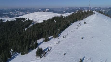 Ski resort in the alps, aerial shot