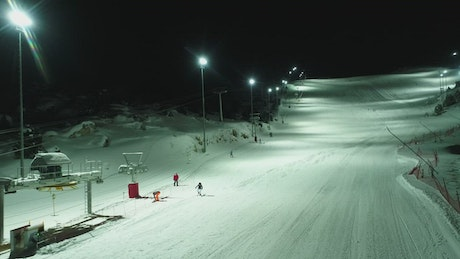 Skiers heading in both directions