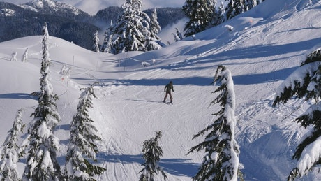 Skiing on a snowy slope