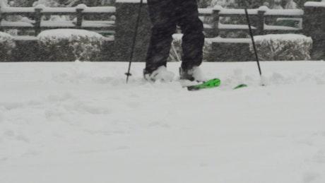 Skiing through a park